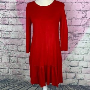 Zara knit red midi ruffle bottom dress medium